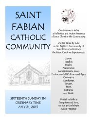 invitation to prayer - Saint Fabian Catholic Church
