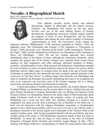 Novalis: A Biographical Sketch - Philosophy Project