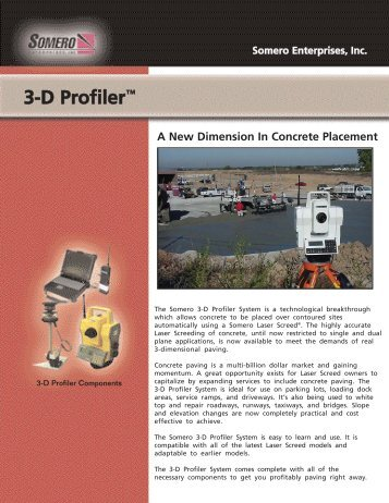 3-D Profiler System® Product Specification - Somero Enterprises