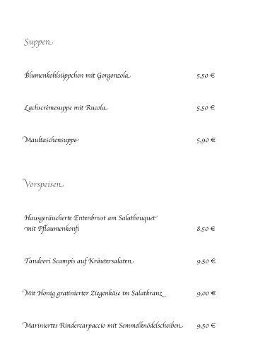 Suppen Vorspeisen - Gasthof Hagedorn