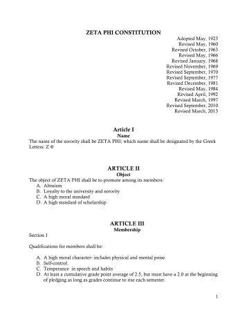 Zeta Phi Constitution - University of Dubuque