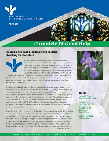Spring 2013 Edition - Bon Secours St. Petersburg