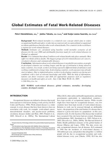 Global estimates of fatal work-related diseases