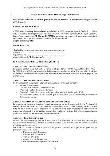 1/4 Projet de contrat cadre Mise en Page - Impression - Handicap ...