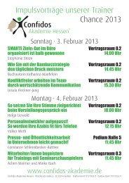 Impulsvorträge unserer Trainer Chance 2013 - Confidos Akademie ...