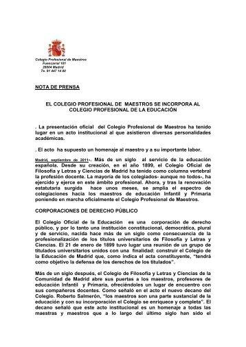El Colegio Profesional de Maestros se incorpora al Colegio ...