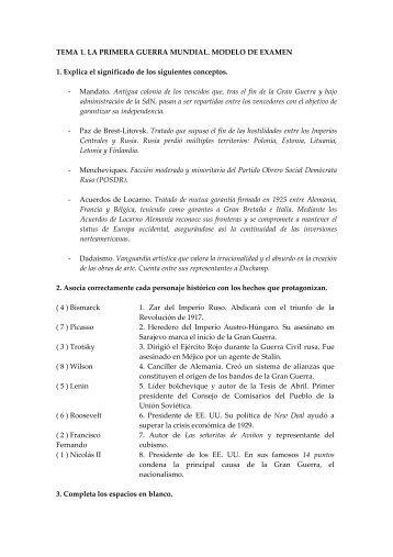 TEMA 1. LA PRIMERA GUERRA MUNDIAL. MODELO DE EXAMEN ...