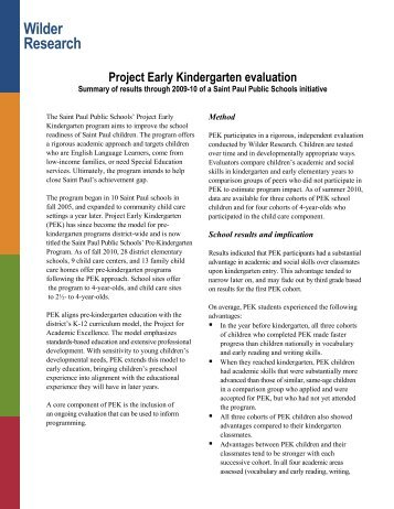 Project Early Kindergarten Evaluation - Results Through 2009-10 ...