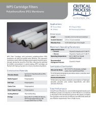 WPS Cartridge Filters - Critical Process Filtration