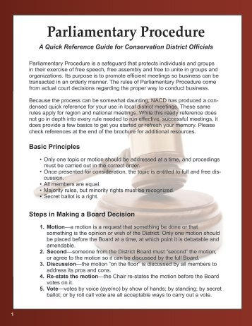 Parliamentary Procedure—A Quick Reference Guide for Conservation