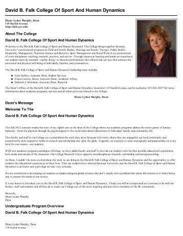 David B. Falk College Of Sport And Human ... - Course Catalog