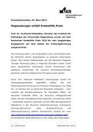 Regensburger erhält Krebshilfepreis - Universitätsklinikum ...