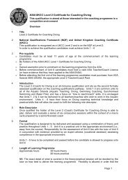 ASA/UKCC Level 2 Certificate for Coaching Diving - FIG