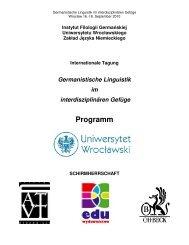Programm - Instytut Filologii Germańskiej