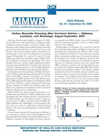 """Carbon Monoxide Poisoning After Hurricane Katrina- ALA, LA, and ..."