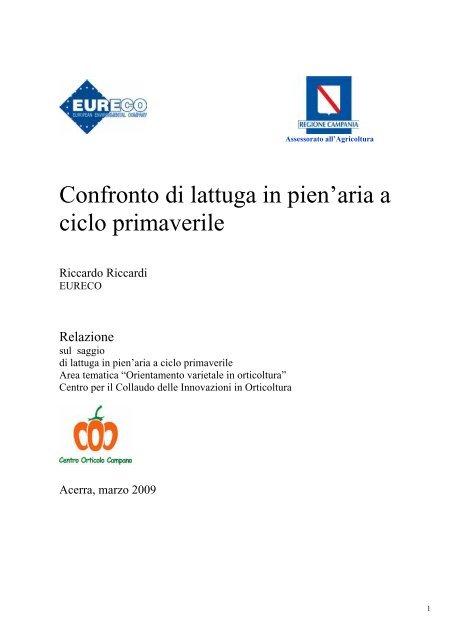 Confronto di lattughe in ciclo primaverile - Regione Campania