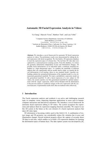 Automatic 3D Facial Expression Analysis in Videos - Visgraf - Impa