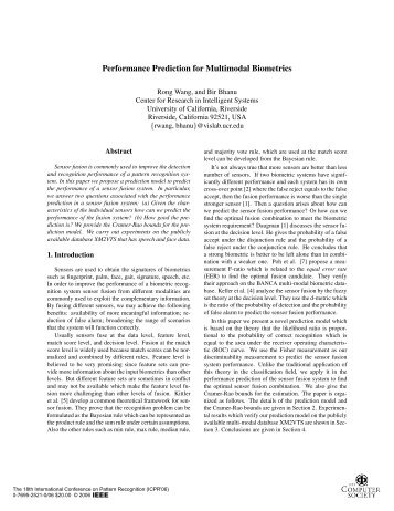 Performance Prediction for Multimodal Biometrics - IEEE Xplore
