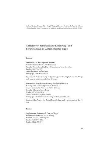 Lebensweg- und Berufsplanung, Anbieter von Seminaren in der ...