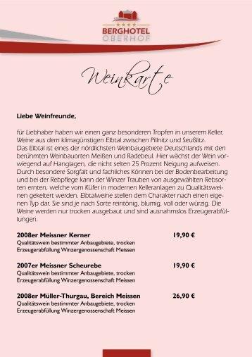 Weinkarte - Berghotel Oberhof