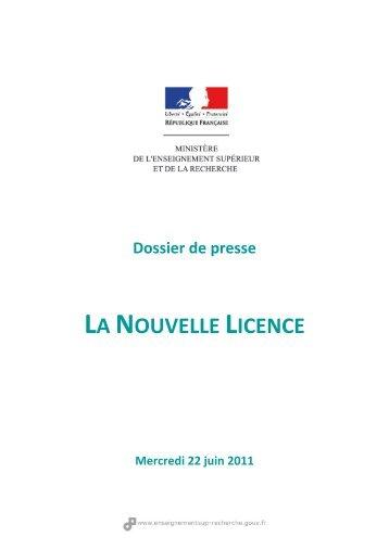 LA NOUVELLE LICENCE - Ministère de l'enseignement supérieur et ...