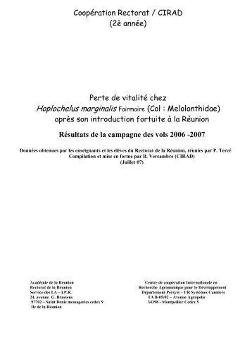 Coopération Rectorat / CIRAD - svt - académie de la réunion
