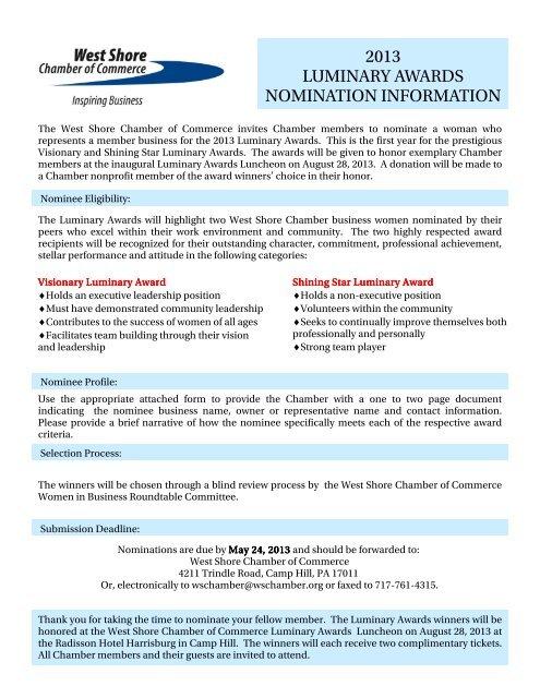 2013 Luminary Awards Nomination Form - West Shore Chamber of ...