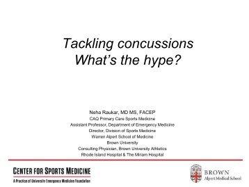 Tackling concussions - Alpert Medical School - Brown University