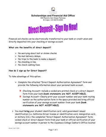 Direct Deposit Enrollment Instructions