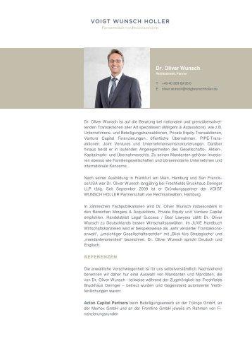 Vita Dr. Oliver Wunsch _deutsch_. Oliver Wunsch _deutsch