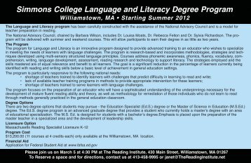 Simmons College Language and Literacy Degree Program
