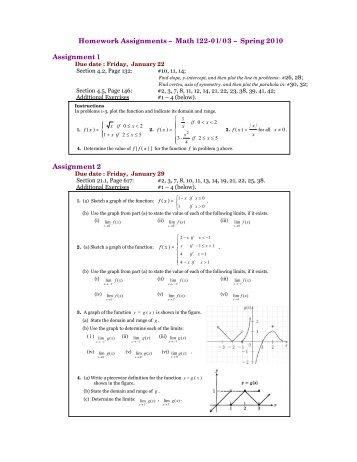 Homework Assignments – Math 122-01/03 – Spring 2010 ...