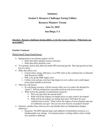 Summary Session 5: Resource Challenges Facing Utilities ...