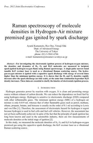 Raman spectroscopy of molecule densities in Hydrogen-Air mixture ...
