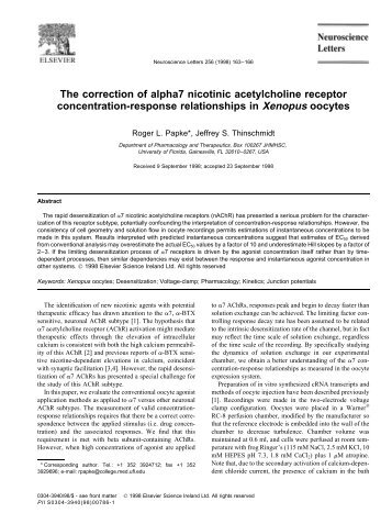 The correction of alpha7 nicotinic acetylcholine receptor ...