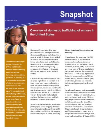 Overview of Domestic Trafficking of Minors in the United States ...