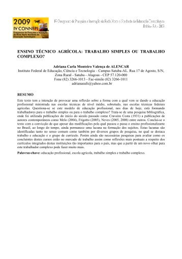 trabalho simples ou trabalho complexo? - Connepi2009.ifpa.edu.br