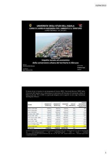 Impatto sociale ed economico della conversione urbana ... - Planeco