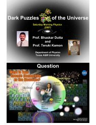 Dark Puzzles of the Universe Question - Texas A&M University