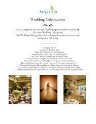 Mayfair Hotel & Spa - Wedding Celebrations