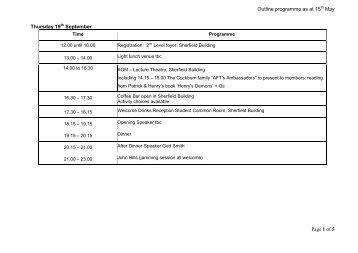 Outline DRAFT programme