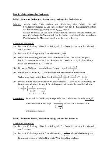 Dopplereffekt (Alternative Herleitung) Fall a) Ruhender Beobachter ...