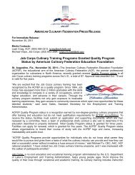 Job Corps Culinary Training Programs Granted Quality Program