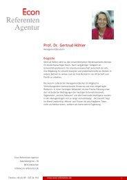 Prof. Dr. Gertrud Höhler - Econ Referenten-Agentur