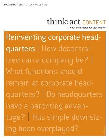 "act CONTENT ""Reinventing corporate headquarters"" - Roland Berger"