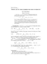 Strong law of large numbers for sums of products - Department of ...