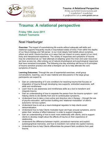 Relational approaches in gestalt therapy gestalt international trauma a relational perspective gestalt therapy australia fandeluxe Images