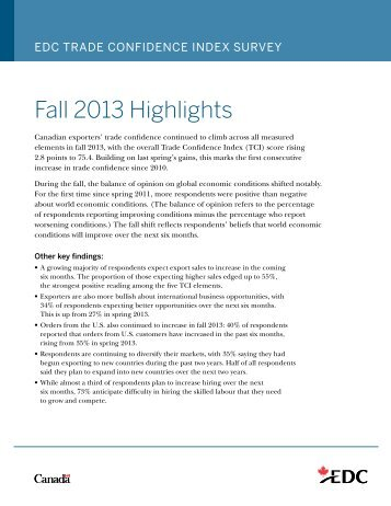 Trade Confidence Index Spring 2013 Highlights – Export ... - EDC