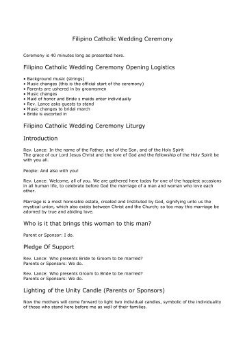 Filipino Catholic Wedding Ceremony - The Roman Catholic church ...
