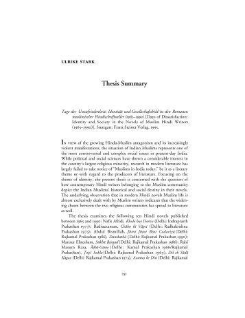 Phd thesis summary